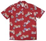 Paradise Found Motorcycle Red Rayon Men's Hawaiian Shirt