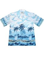KY'S Shore Line Light Blue Cotton Men's Hawaiian Shirt