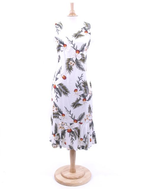 Hawaiian Orchid White Rayon Hawaiian Midi Dress
