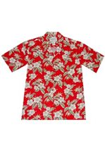 KY'S Hibiscus & Bird of Paradise Floral Red Rayon Men's Hawaiian Shirt