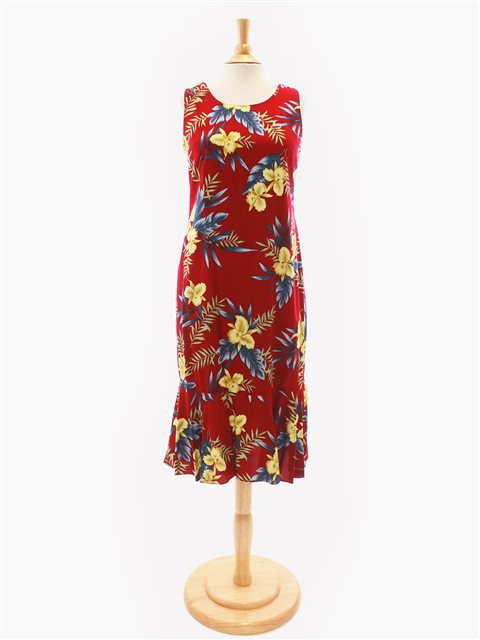 Orchid Fern Red Rayon Hawaiian Midi Dress