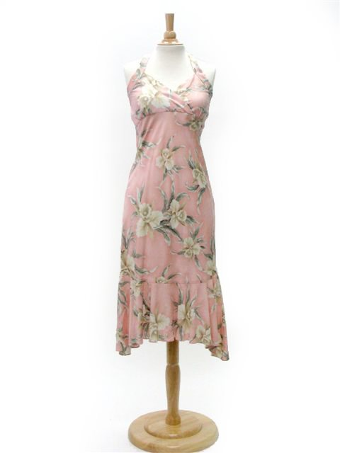 3ae10fed34c47 Two Palms Retro Orchid Pink Rayon Hawaiian Halter Neck Midi Dress |  AlohaOutlet