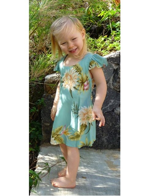 Ceres Green Rayon Girls Hawaiian Dress