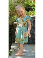 Two Palms Ceres Green Rayon Girls Hawaiian Dress