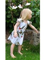 Two Palms Hawaiian Orchid White Rayon Girls Hawaiian Dress
