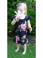 Two Palms Orchid Fern Black Rayon Girls Hawaiian Dress