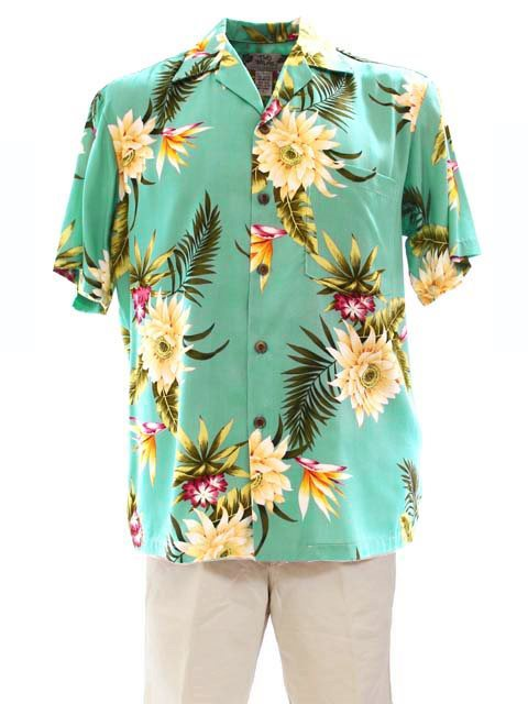 Ceres Green Rayon Men's Hawaiian Shirt