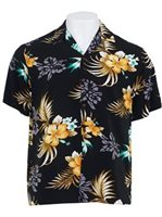Two Palms Fern Hibiscus Black Rayon Men's Hawaiian Shirt
