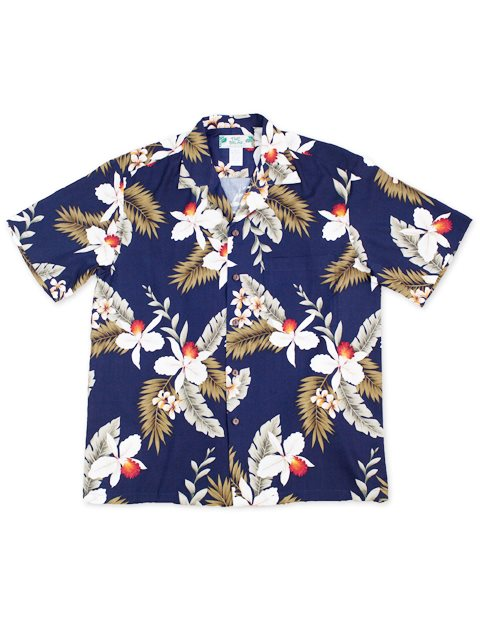 Hawaiian Orchid Navy Rayon Men's Hawaiian Shirt