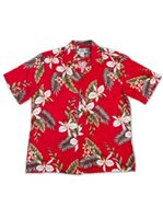 Two Palms Hawaiian Orchid Red Rayon Men's Hawaiian Shirt