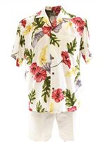 Two Palms Monstera Cream Rayon Men's Hawaiian Shirt