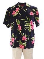 Two Palms Orchid Fern Black Rayon Men's Hawaiian Shirt
