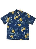 Two Palms Orchid Fern Blue Rayon Men's Hawaiian Shirt