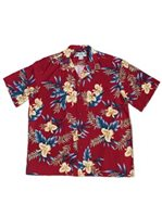 Two Palms Orchid Fern Red Rayon Men's Hawaiian Shirt