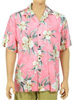 Two Palms Retro Orchid Pink Rayon Men's Hawaiian Shirt