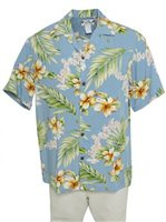 Two Palms Tuberose Blue Rayon Men's Hawaiian Shirt