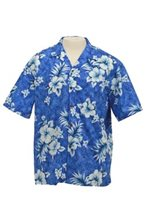 Two Palms Crack Hibiscus Blue Cotton Men's Hawaiian Shirt