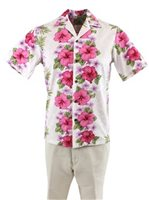 Two Palms Plumeria Panel White Cotton Men's Hawaiian Shirt