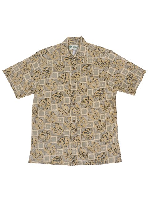 Block Monstera Beige Cotton Men's Hawaiian Shirt