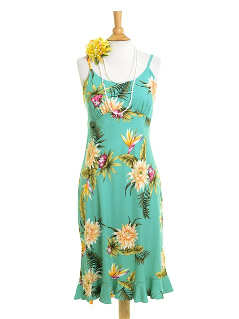 Ceres Green Rayon Hawaiian Spaghetti Strap Midi Dress