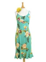 Two Palms Ceres Green Rayon Hawaiian Spaghetti Strap Midi Dress