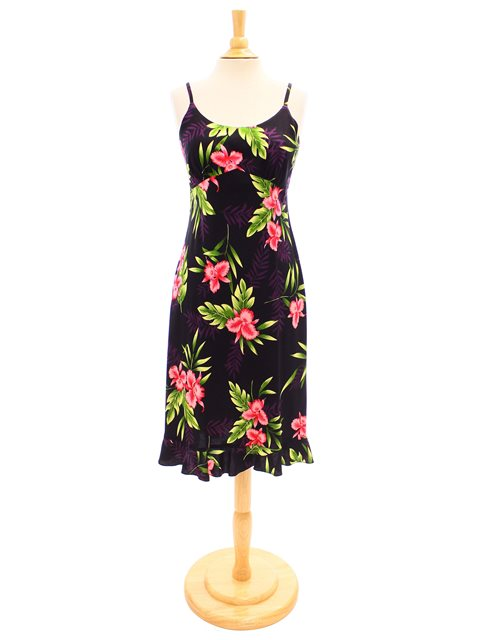 Orchid Fern Black Rayon Hawaiian Spaghetti Strap Midi Dress