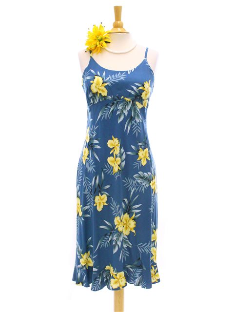 Orchid Fern Blue Rayon Hawaiian Spaghetti Strap Midi Dress