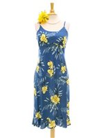 Two Palms Orchid Fern Blue Rayon Hawaiian Spaghetti Strap Midi Dress