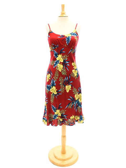 Orchid Fern Red Rayon Hawaiian Spaghetti Strap Midi Dress