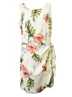 Two Palms Monstera Cream Rayon Hawaiian Sarong Short Dress