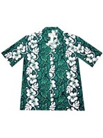 KY'S Hibiscus Lei Green Cotton Men's Hawaiian Shirt