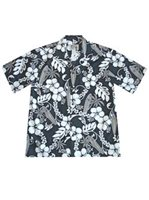 KY'S Surfboard Hibiscus  Gray Cotton Men's Hawaiian Shirt