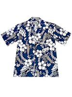 KY'S Surfboard Hibiscus  Navy Blue Cotton Men's Hawaiian Shirt