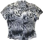 Two Palms Big Fern White Rayon Women's Hawaiian Shirt
