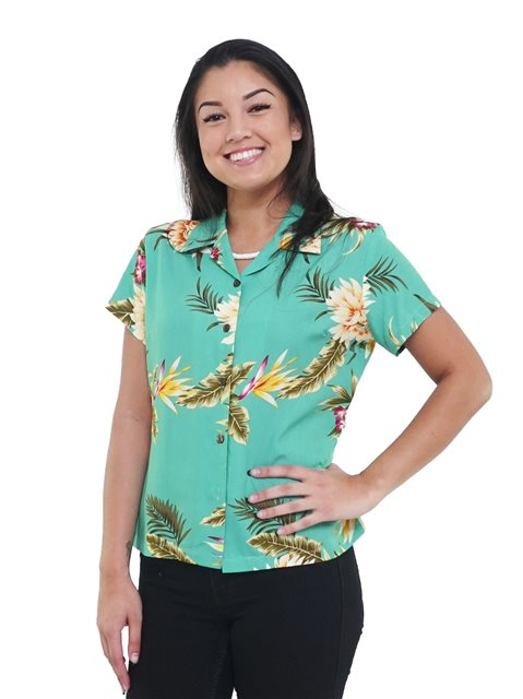 25961780728860 Two Palms Ceres Green Rayon Women's Hawaiian Shirt | AlohaOutlet
