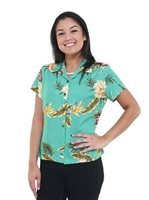 Two Palms Ceres Green Rayon Women's Hawaiian Shirt