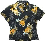 Two Palms Fern Hibiscus Black Rayon Women's Hawaiian Shirt