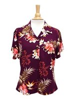 Two Palms Fern Hibiscus Purple Rayon Women's Hawaiian Shirt