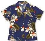 Two Palms Hawaiian Orchid Navy Rayon Women's Hawaiian Shirt