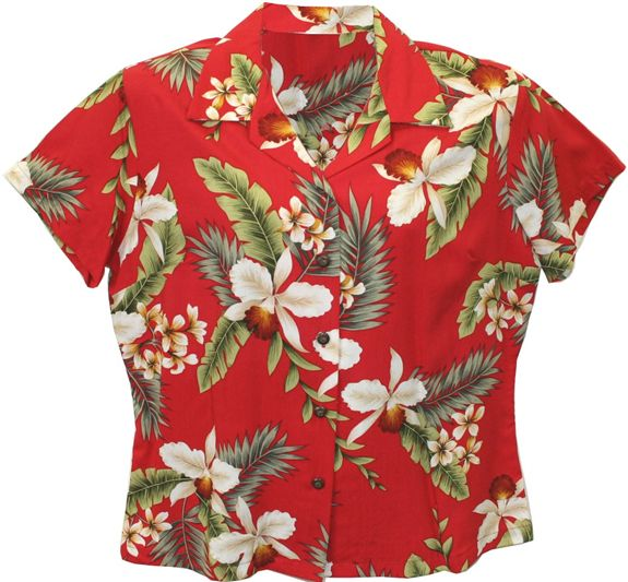 8a181ee2 Two Palms Hawaiian Orchid Red Rayon Women's Hawaiian Shirt | AlohaOutlet