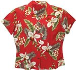 Two Palms Hawaiian Orchid Red Rayon Women's Hawaiian Shirt