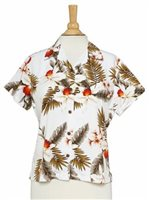 Two Palms Hawaiian Orchid White Rayon Women's Hawaiian Shirt
