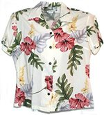 Two Palms Monstera Cream Rayon Women's Hawaiian Shirt