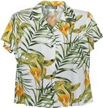Two Palms Napali White Rayon Women's Hawaiian Shirt