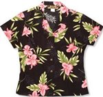 Two Palms Orchid Fern Black Rayon Women's Hawaiian Shirt