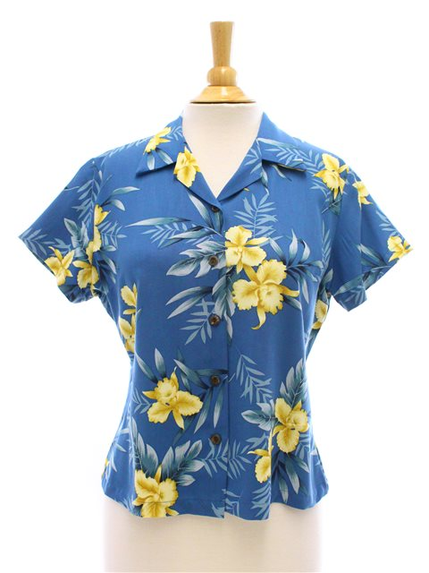 Orchid Fern Blue Rayon Women's Hawaiian Shirt