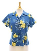 Two Palms Orchid Fern Blue Rayon Women's Hawaiian Shirt
