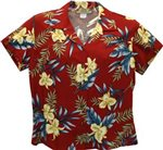 Two Palms Orchid Fern Red Rayon Women's Hawaiian Shirt