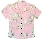 Two Palms Retro Orchid Pink Rayon Women's Hawaiian Shirt