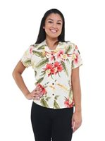 Two Palms Sonic Beige Rayon Women's Hawaiian Shirt
